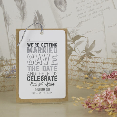 'Sketch' Wedding Save The Date Tags