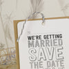'Sketch' Wedding Save The Date Tags with Twine