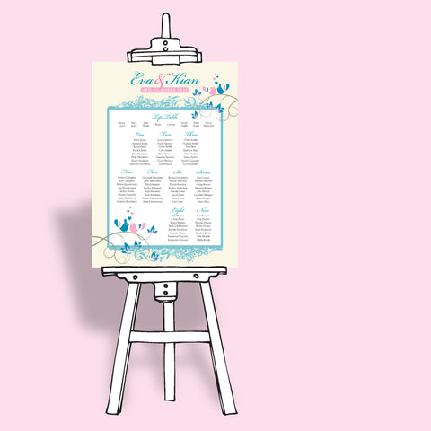 lovebirds wedding tableplan