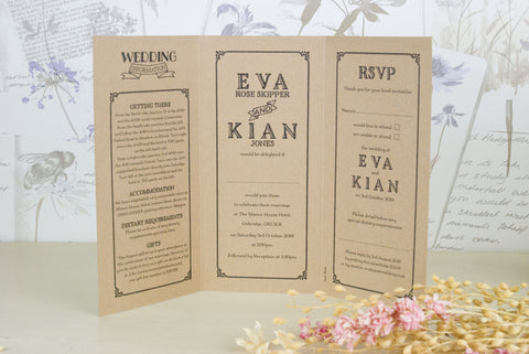 Vintage Typography Kraft Tri Fold Wedding Invitation Love