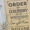 'Vintage Typography' Wedding Order of Service with Twine Bow