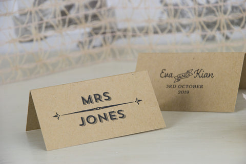 'Vintage Typography' Kraft Wedding Place Name Cards