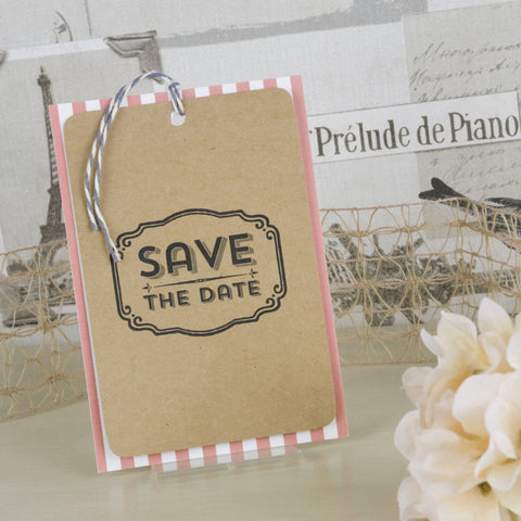 'Vintage Typography' Wedding Save The Date Tags