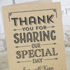 Close Up of 'Vintage Typography' Kraft Wedding Thank You Cards