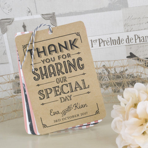 'Vintage Typography' Wedding Thank You Card Tags