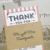 Close Up of 'Vintage Typography' Wedding Thank You Booklet Sleeve