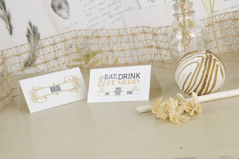 'Vintage' Ivory Wedding Place Name Cards