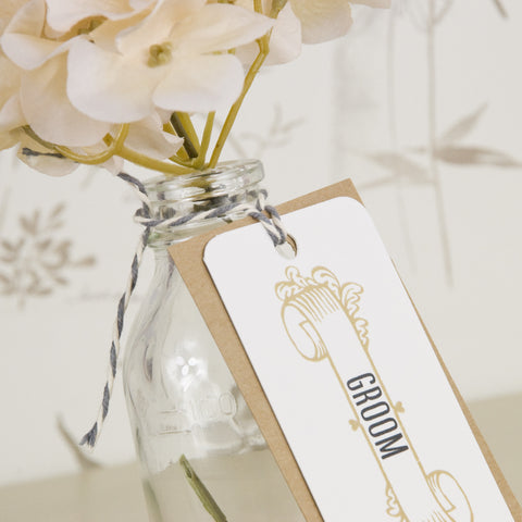 'Vintage' Wedding Place Name Tags With Twine