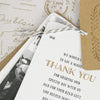 'Vintage' Wedding Thank You Card Tags Showing Close Up of Thank You Page