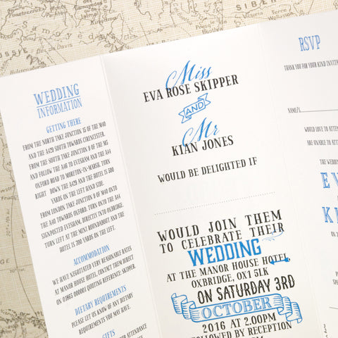 Vintage Tri Fold Wedding Invitation Love Wedding Print