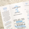 'Vintage' Tri-Fold Wedding Invitation, Showing Invitation Wording and Information Page