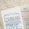 Close Up of 'Vintage' Tri-Fold Wedding Invitation