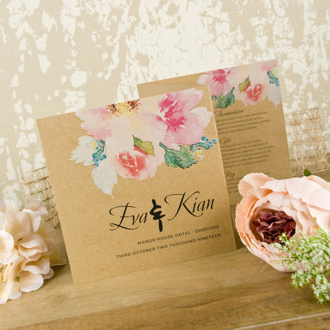 'Vintage Watercolour Bouquet' Wedding Invitation on Kraft
