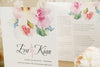 'Watercolour Bouquet' Wedding Invitation on Ivory Board Close Up