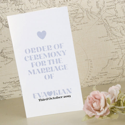 'Wordie' Wedding Order of Service