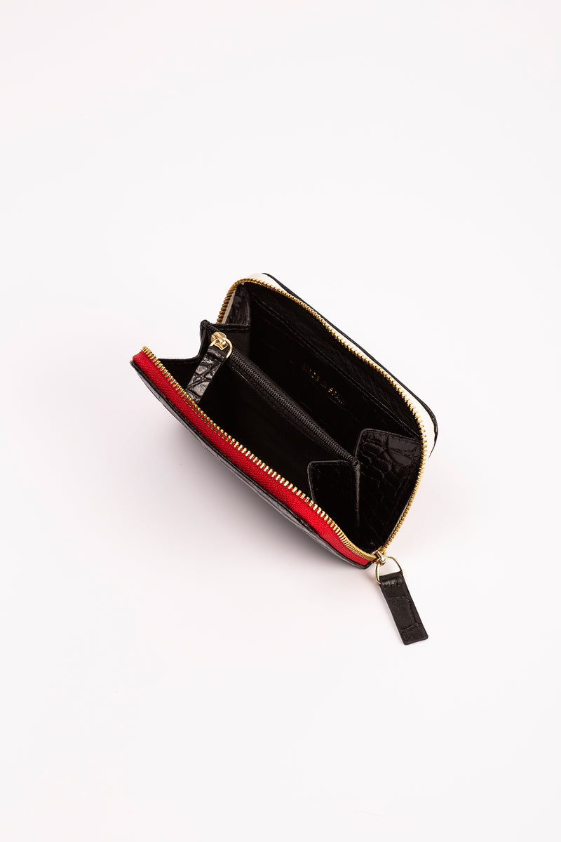 MARIANA zipped-wallet in croc black.