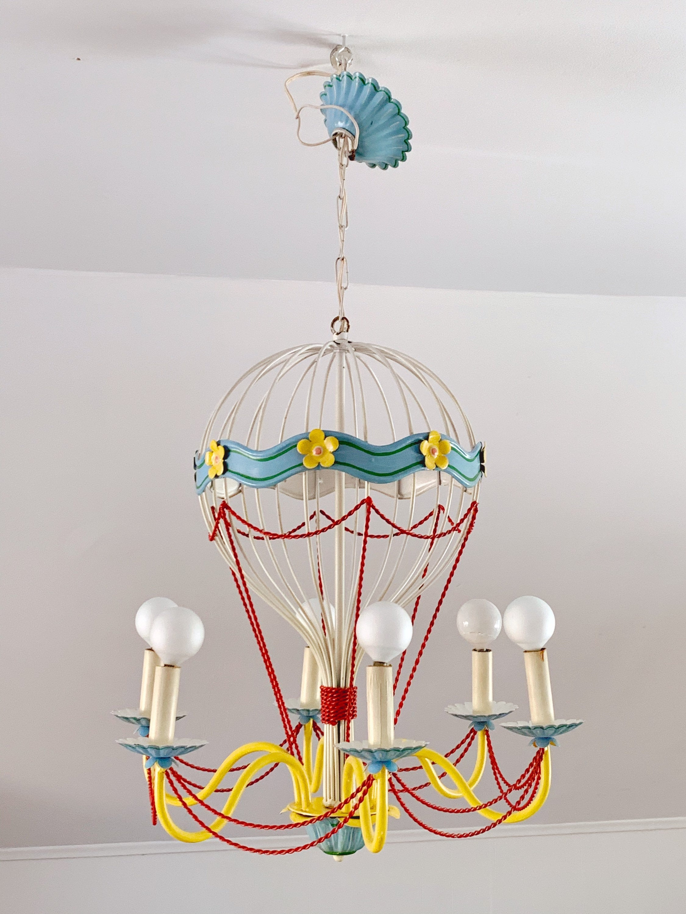 Circa 1940's Vintage French Tole Hot Air Balloon Chandelier | Whimsical Mid-Century 6 Arm Ceiling Light | Nursery and Kids Room Decor