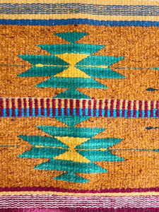 "Authentic Zapotec Wool Rug Hand Woven in Oaxaca 29""x 56"" 