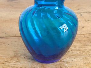Vintage Hand Blown Electric Blue Swirl Glass Flower Vase with Ruffled Lip | Home Decor Gift for Her Housewarming Gift