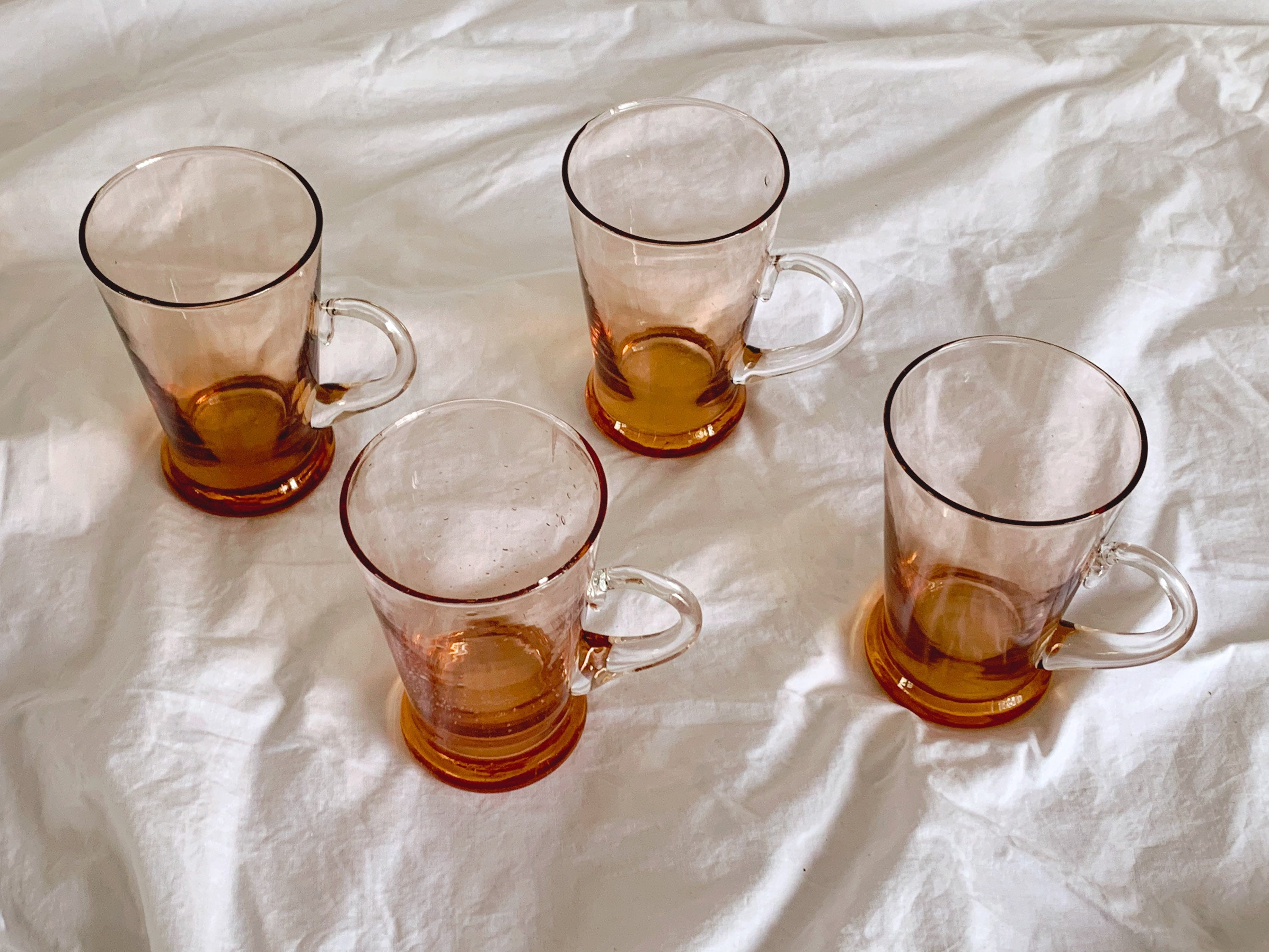 Vintage Hand Blown Glass Iced Coffee Cups with Applied Handle | Beer Pint and Water Glasses in Gradient Orange
