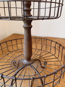 Vintage Two-Tier Metal Wire Fruit Basket | Rustic Farmhouse Decor