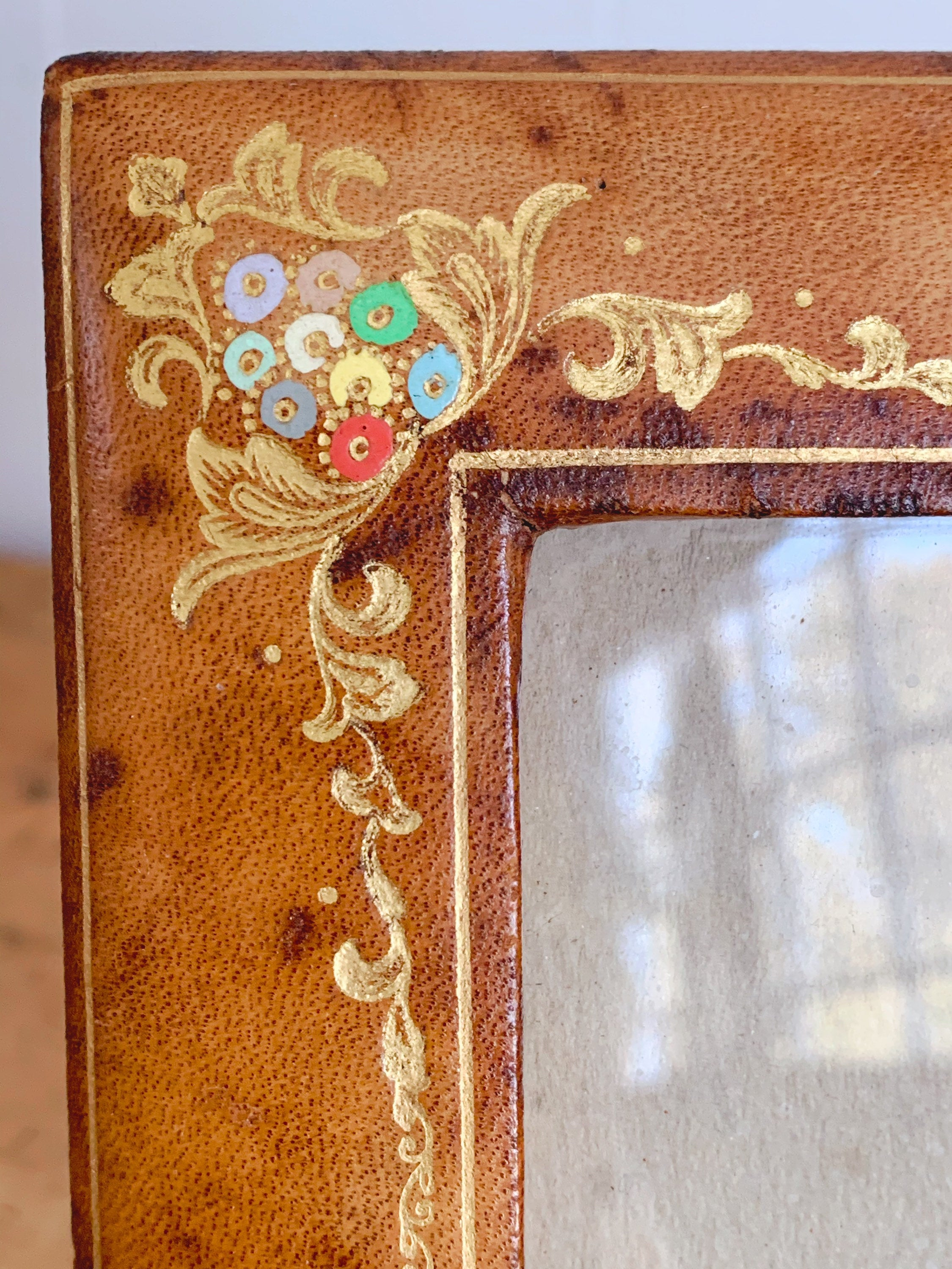 Handsome Vintage Alexander's Genuine Leather Picture Frame with Hand Painted Flowers | Brown Leather Photo Frame Home Decor