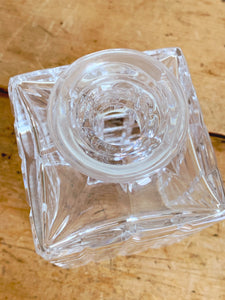 Vintage Square Cut Crystal Glass Decanter with Solid Crystal Stopper | Whiskey Decanter Barware | Gift for Him Father's Day Gift