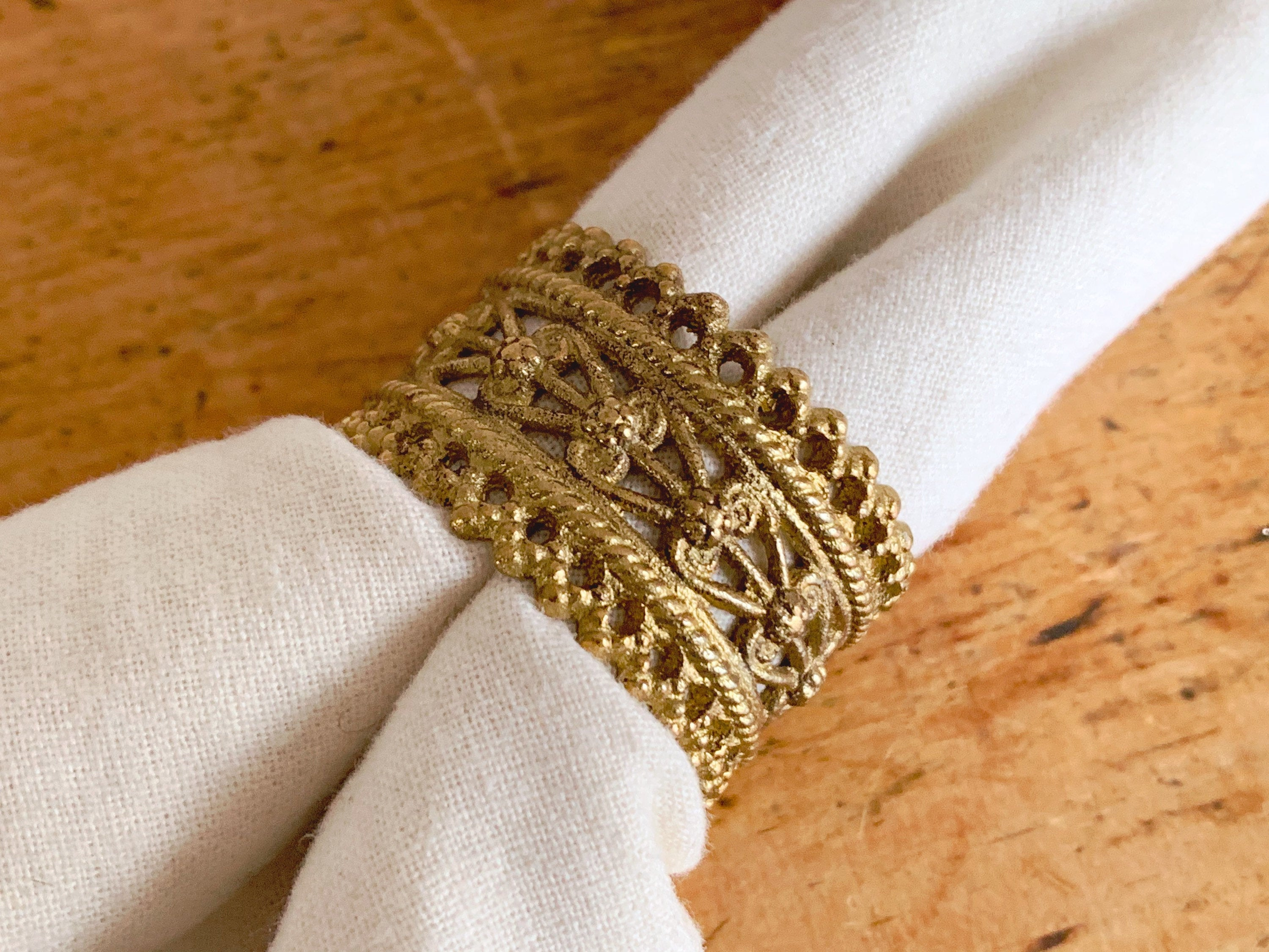 Vintage Set of 4 Ornate Brass Filigree Napkin Rings | Gold Tone Dining Table Decor