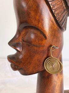 Vintage African Wood Sculpture of A Female Bust by Termezi | Hand Carved Head with Brass Earrings Signed by Artist | Eclectic Home Decor