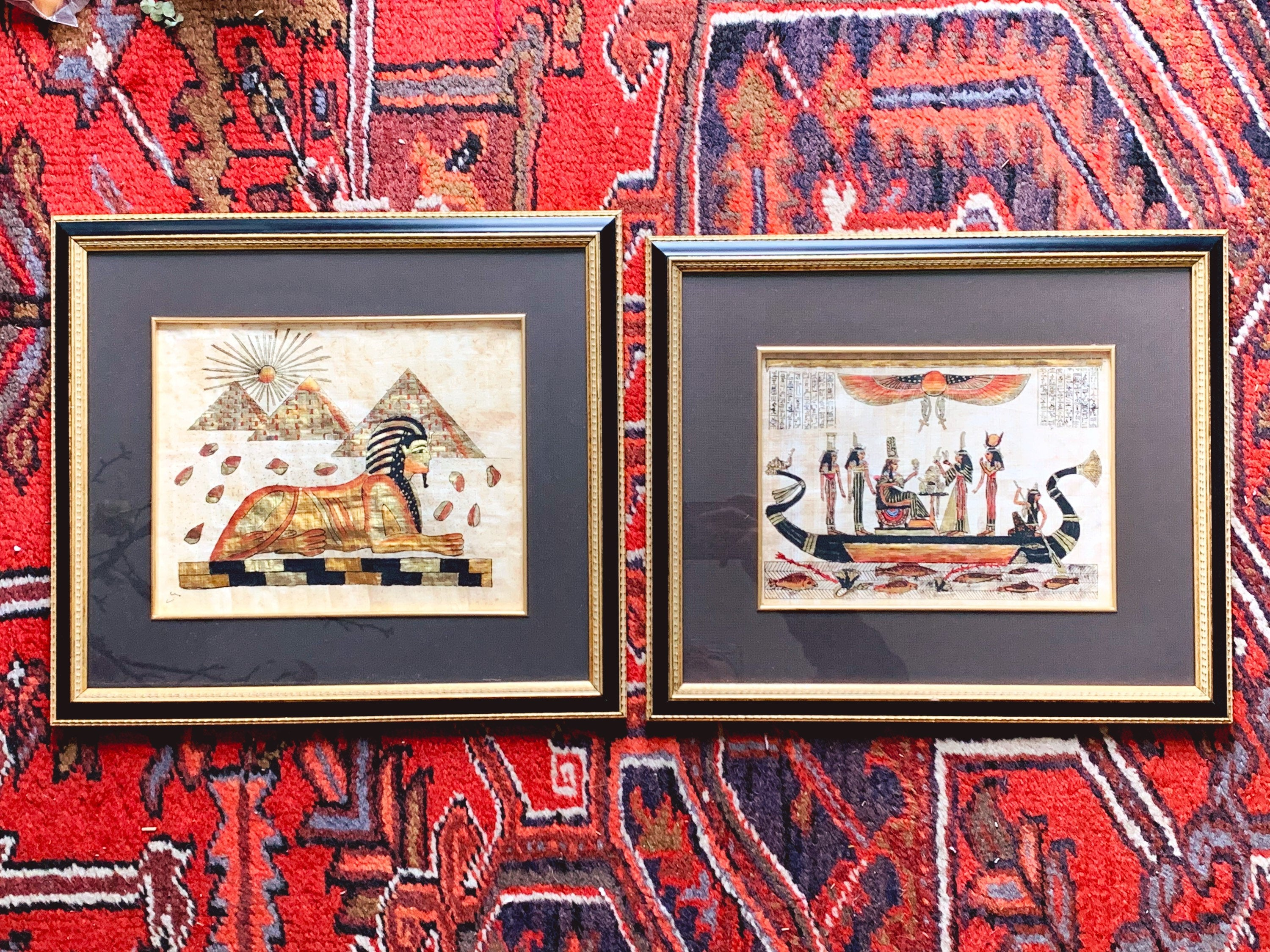 Vintage Hand Painted Egyptian Papyrus Painting in Black and Gold Wooden Frame | Collectible Art of Great Sphinx of Giza Pyramids Hieroglyphs