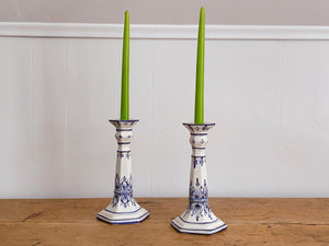 Pair of Hand Painted Vintage Ceramic Taper Candle Holders | Blue and White Delftware Candlestick Holders Home Decor