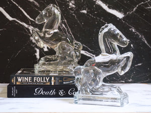 Pair of Vintage 1940s Clear Glass Rearing Horse Bookends By L.E. Smith - Urban Nomad NYC