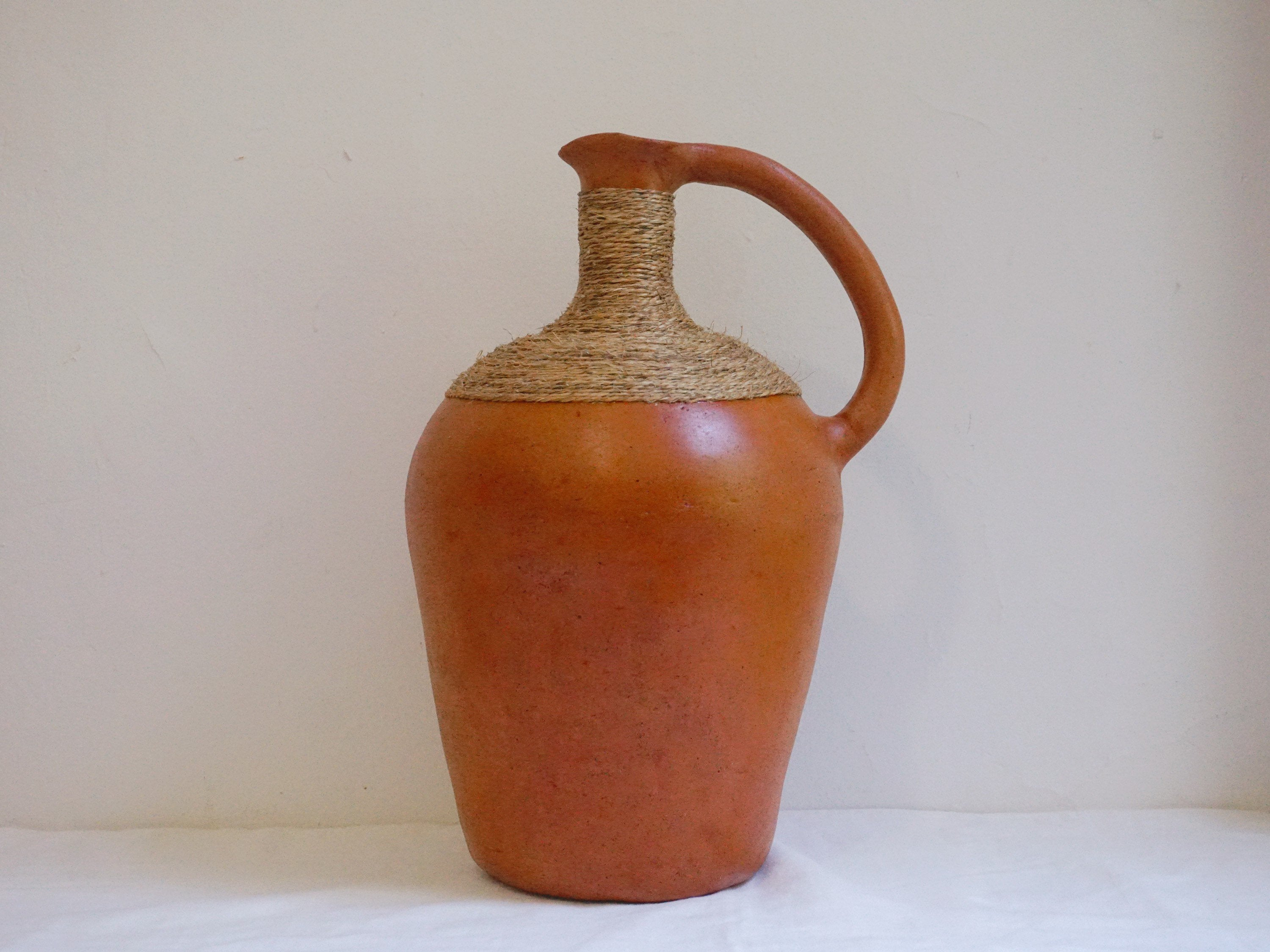 Vintage Hand Made African Clay Water Jug with Straw Wrapping and Handle | Tribal Vase Home Decor - Urban Nomad NYC