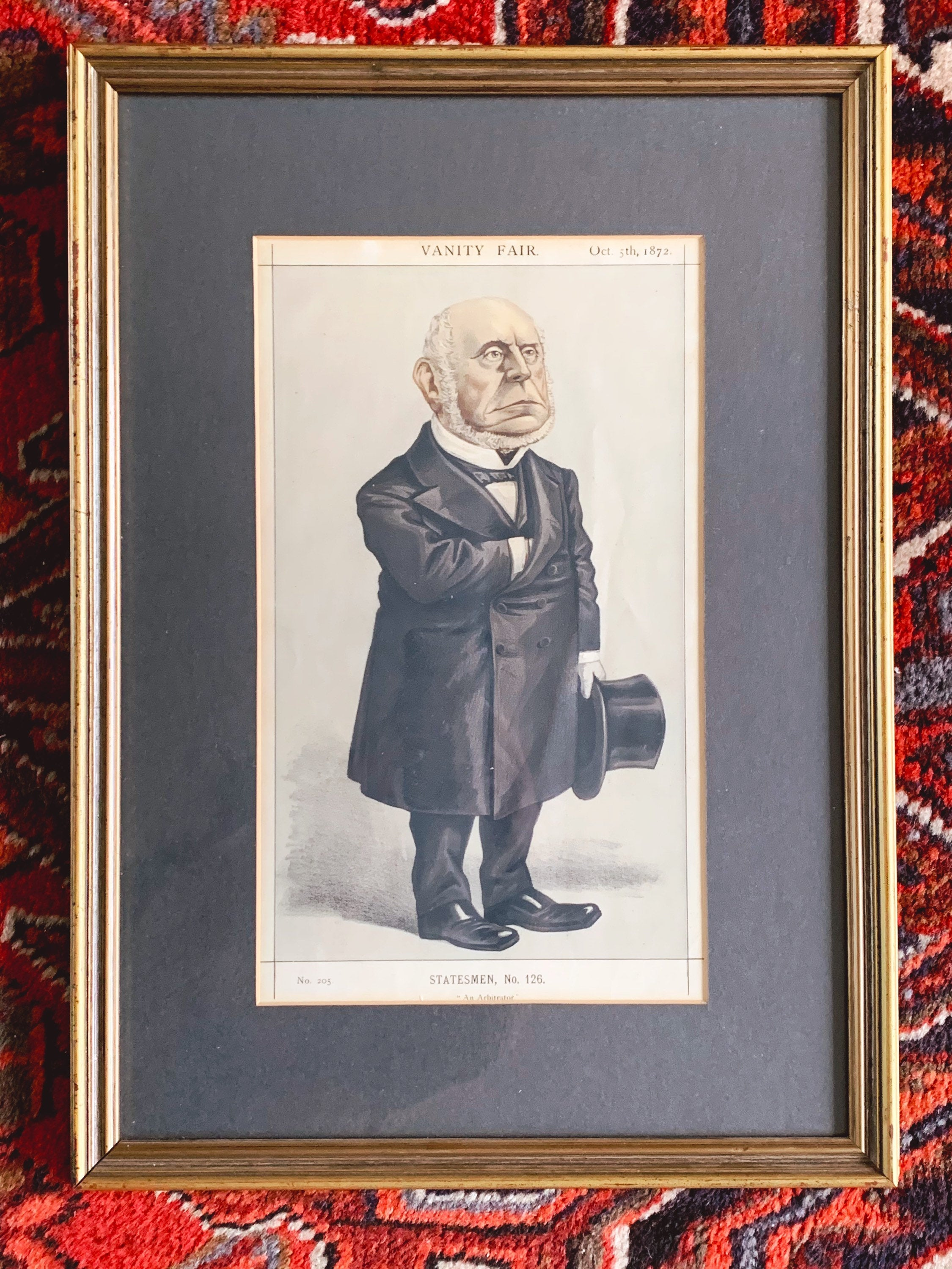 "Antique 1870s Vanity Fair Original Print ""Statesmen"" Framed Lithographs 