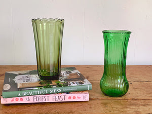 Assorted Vintage Hand Blown Green Ribbed Glass Flower Vases | Home Decor Gift for Her Housewarming Gift Mother's Day Gift
