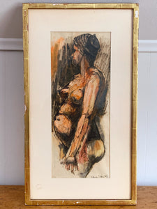Unique Vintage Drawing of Pregnant Woman in Double Sided Frame Signed by Artist | Motherhood Art Home Decor | New Mom Gift