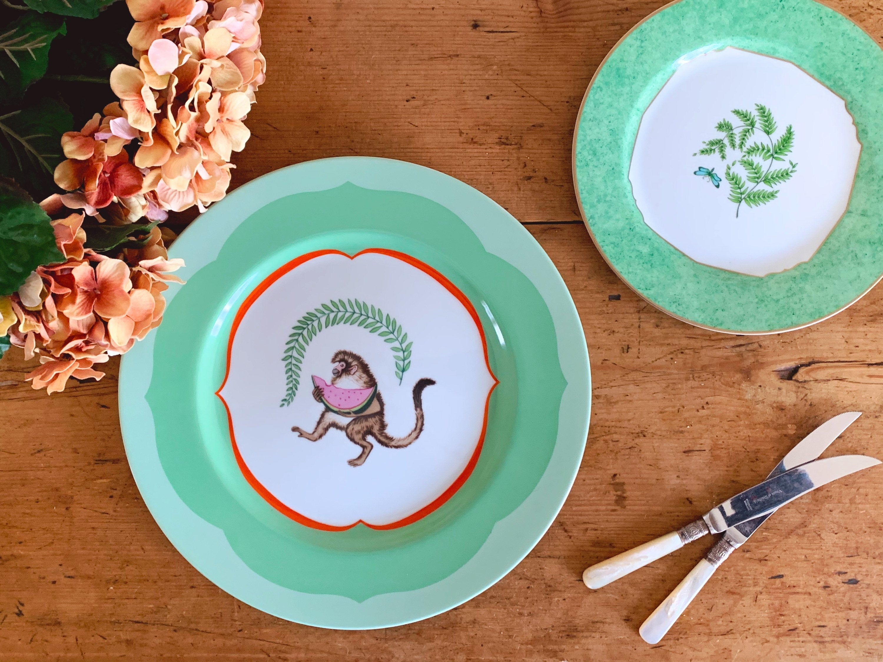"Lynn Chase Monkey Business 12"" Service Plate Charger and 9"" Fern Fantasy Salad Plate"