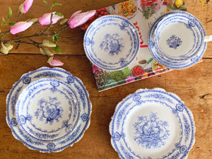 Antique Royal Cauldon England Blue & White Porcelain Dinner Plate, Side Plate and Teacup