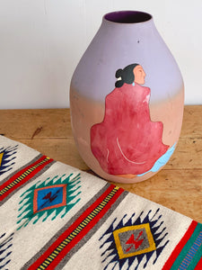 "Monumental Original R.C. Gorman ""Serenity"" 1989 Limited Edition Ceramic Vase Signed and Dated 