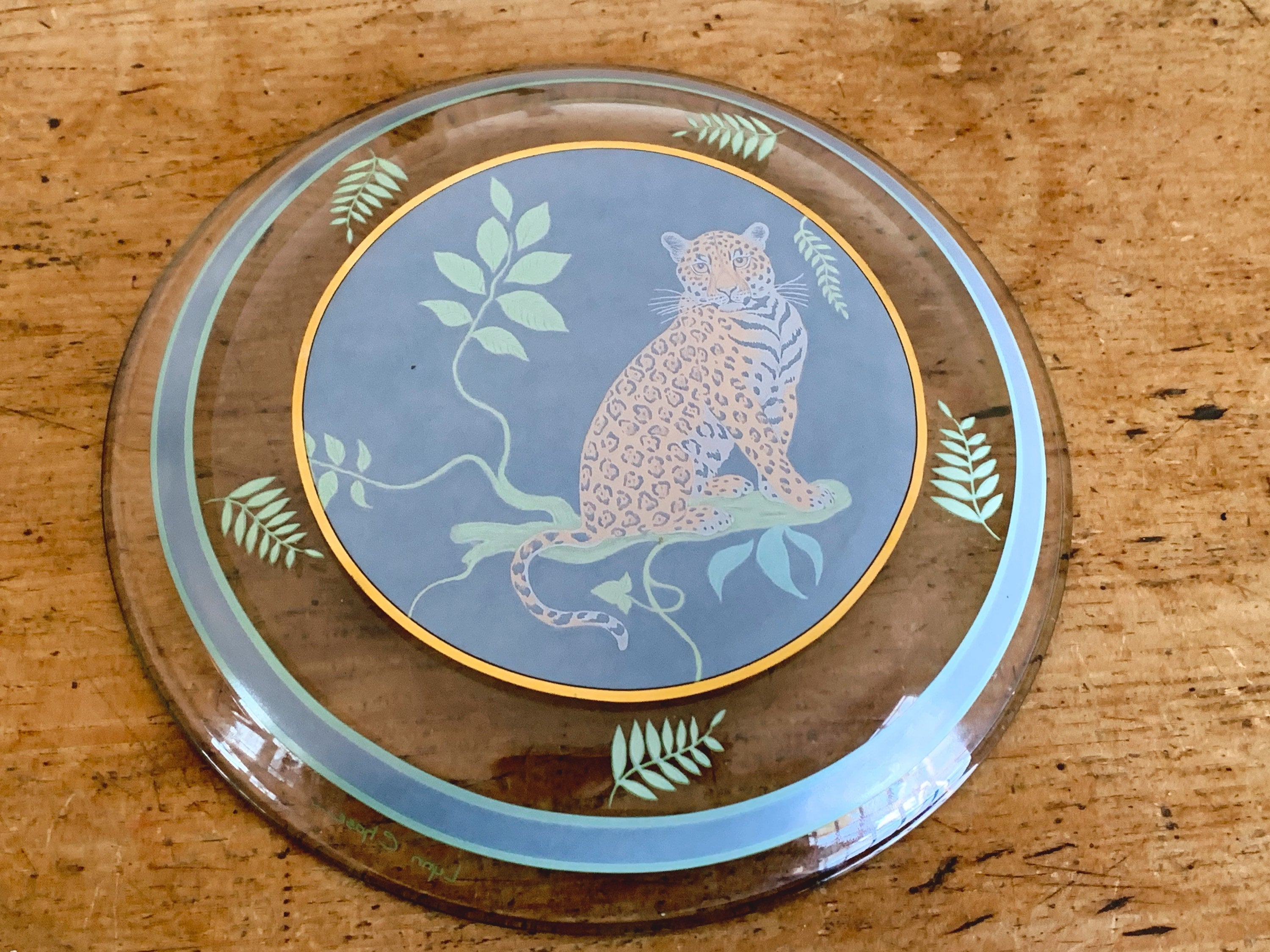"Lynn Chase 'Jaguar Jungle' 8.25"" Glass Salad, Dessert, Lunch Plate 