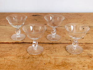 Vintage Clear Champagne Coupe Glasses with Twisted Stem | Craft Cocktail Glasses Barware in Set of 2, 4, 6