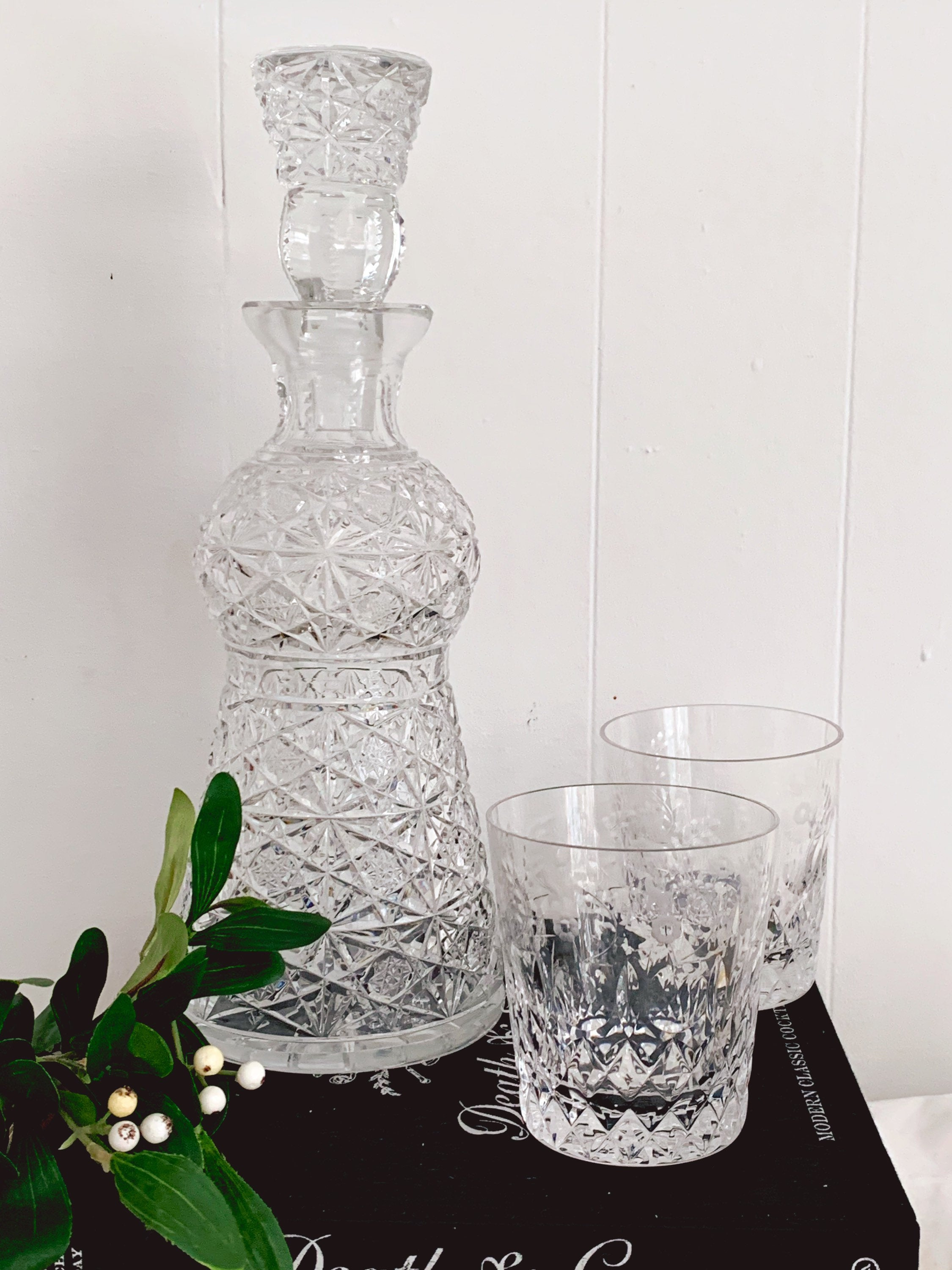 "Large Vintage Heavy Cut Crystal Glass Decanter | 13"" Tall Barware Bar Cart Decor"