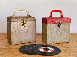 Vintage 1960s 45 RPM Metal Record Carrying Storage Case with Index Card and Vinyl Record Collection Included