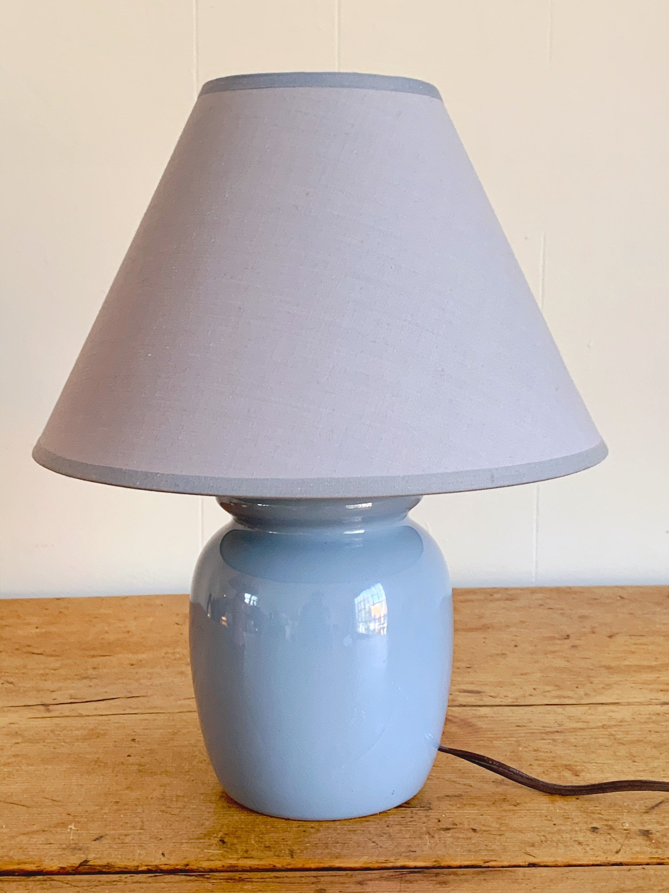 "Vintage Ceramic Table Lamp in Millennial Pink and Powder Blue with Matching Shade | 15"" and 13"" Kids Room Lighting Nursery Decor"