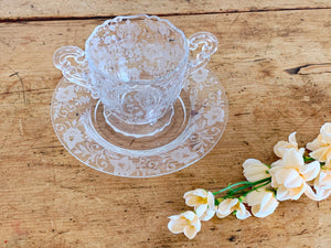 Vintage 1940s Cambridge Glass Sugar Bowl Rose Point Etch Pattern and Saucer | Depression Glass Mix Match Tableware Afternoon Tea