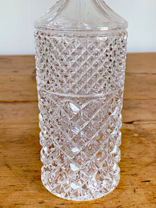 Vintage Heavy Cut Crystal Glass Decanter | Tall Handblown Round Whiskey Decanter | Antique Barware Bar Cart Decor