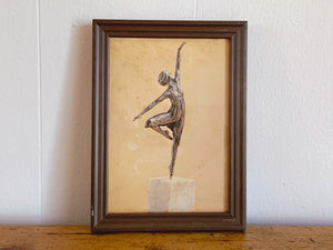 Vintage Small Art Print of Ballerina Statue on Pedestal in Brown Wooden Frame | Shabby Chic Wall Hang Home Decor