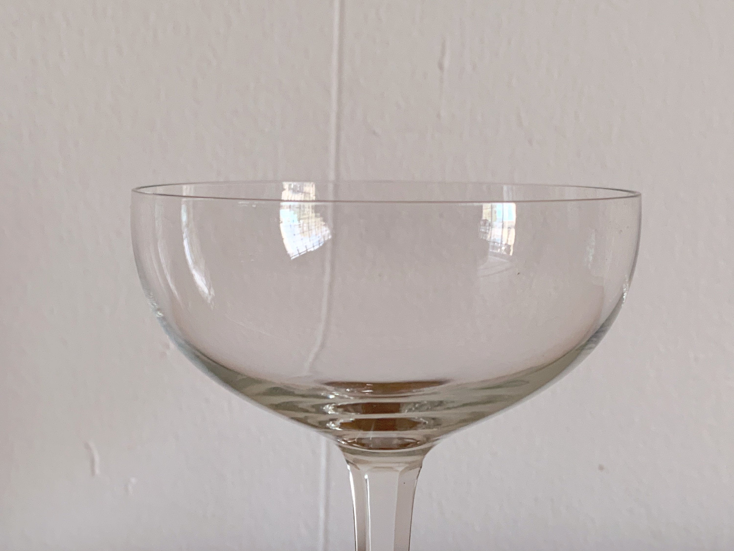 Vintage Clear Crystal Champagne Coupe Glasses | Craft Cocktail Glasses Barware in Set of 2, 4, 6