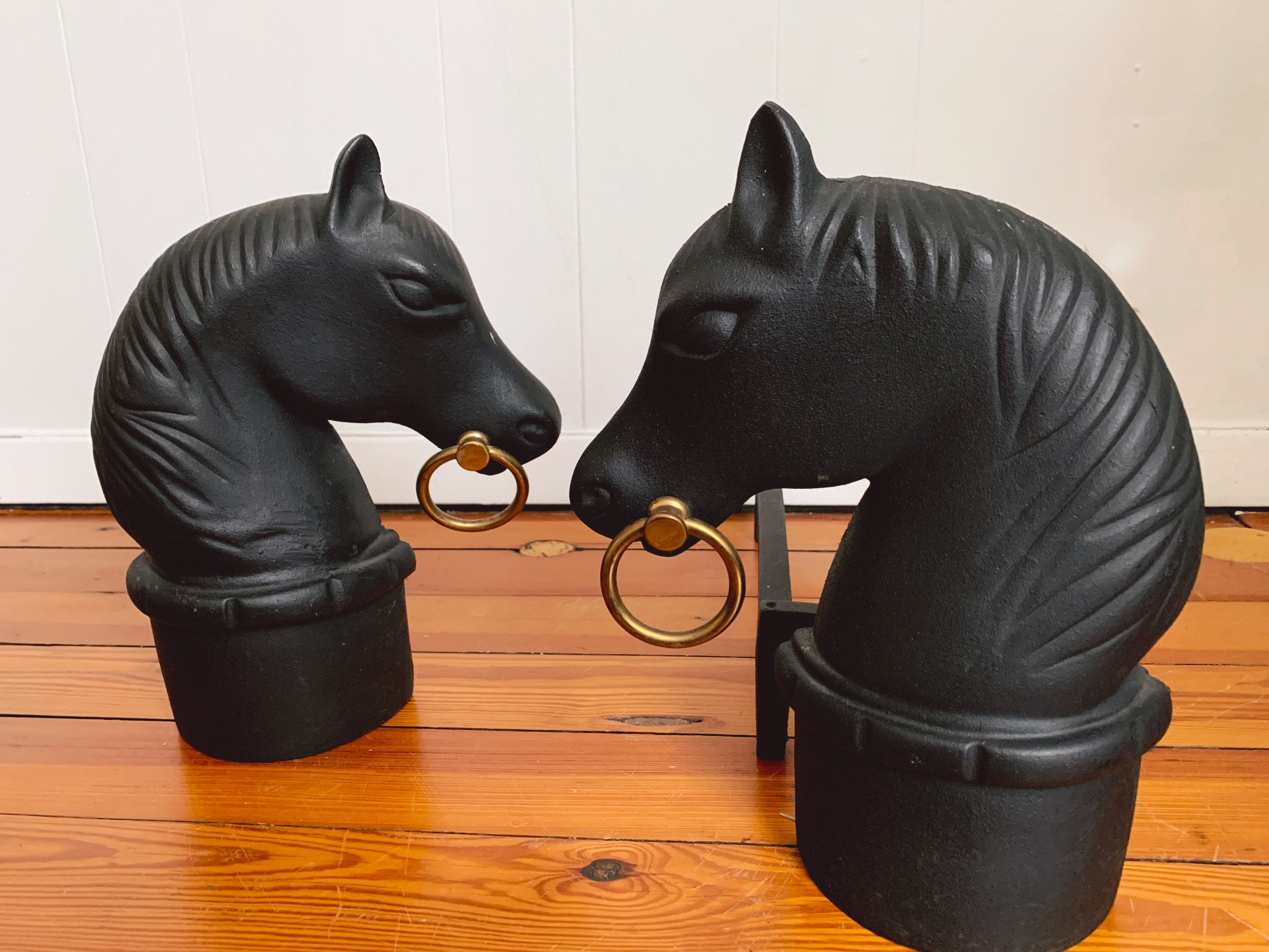 Pair of Vintage Mid-Century Modern Cast Iron Horse Head Andirons Made in USA
