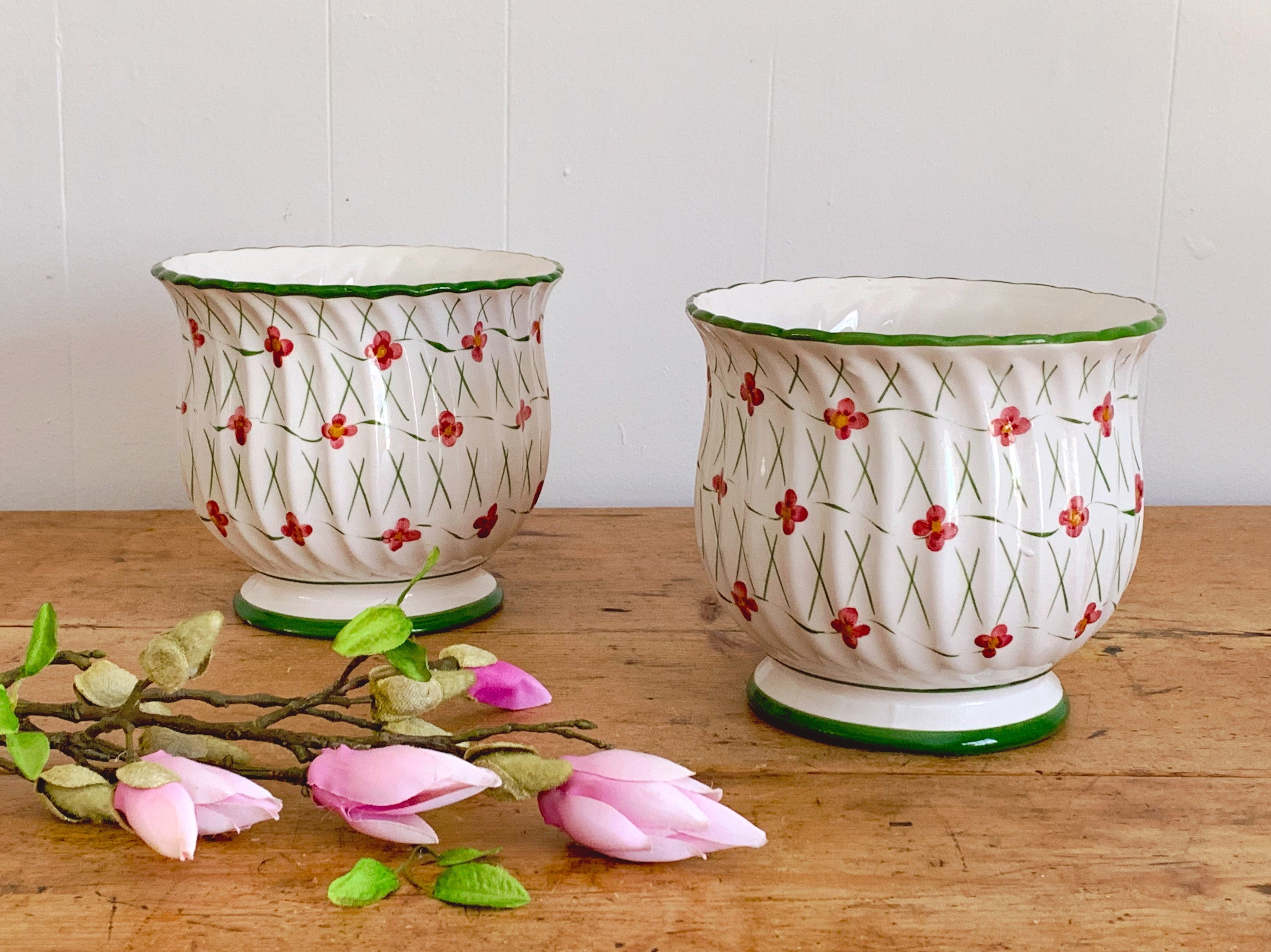 Pair of Vintage Ceramic Floral Pottery Jardiniere Planter Hand Painted in Portugal | Indoor Flower Pot with Pink Flowers and Green Trim